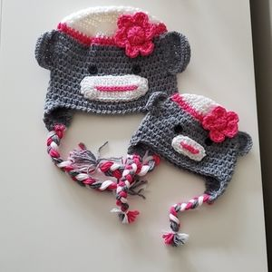 Knitted Hat Set 3-5 Years | Sock Monkey